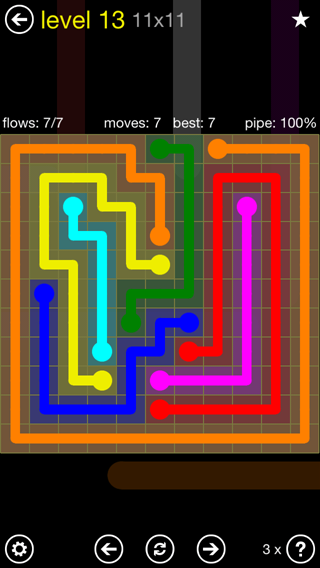 Solution and Answer to the Puzzle for Flow Extreme2 Pack Set 11x11 Level 13