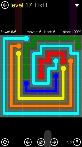 Solution and Answer to the Puzzle for Flow Extreme2 Pack Set 11x11 Level 17