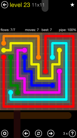 Solution and Answer to the Puzzle for Flow Extreme2 Pack Set 11x11 Level 23