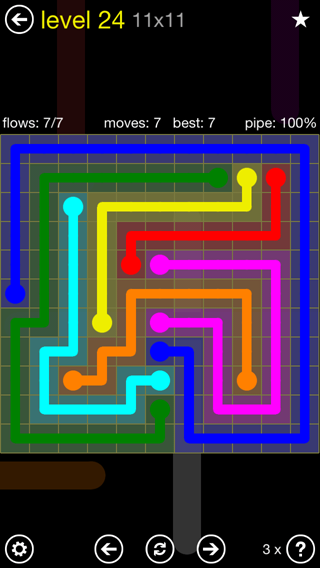 Solution and Answer to the Puzzle for Flow Extreme2 Pack Set 11x11 Level 24