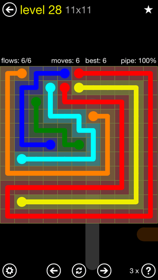 Solution and Answer to the Puzzle for Flow Extreme2 Pack Set 11x11 Level 28