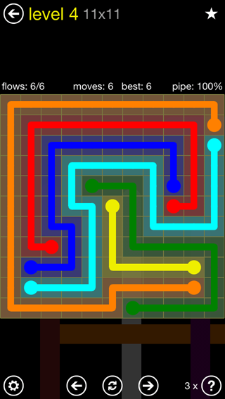 Solution and Answer to the Puzzle for Flow Extreme2 Pack Set 11x11 Level 4