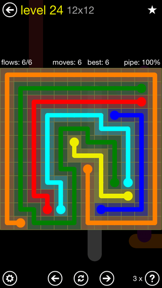 Solution and Answer to the Puzzle for Flow Extreme2 Pack Set 12x12 Level 24