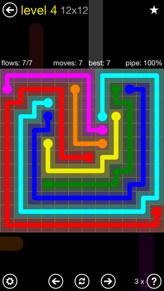 Solution and Answer to the Puzzle for Flow Extreme2 Pack Set 12x12 Level 4