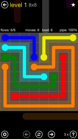 Solution and Answer to the Puzzle for Flow Extreme2 Pack Set 8x8 Level 1