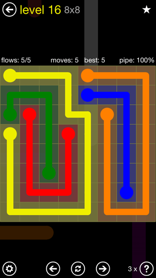 Solution and Answer to the Puzzle for Flow Extreme2 Pack Set 8x8 Level 16