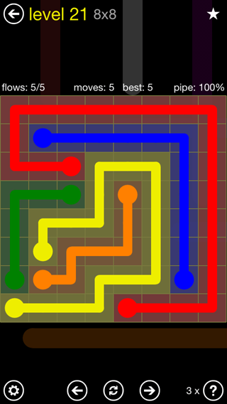 Solution and Answer to the Puzzle for Flow Extreme2 Pack Set 8x8 Level 21