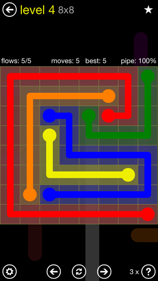 Solution and Answer to the Puzzle for Flow Extreme2 Pack Set 8x8 Level 4