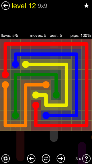 Solution and Answer to the Puzzle for Flow Extreme2 Pack Set 9x9 Level 12