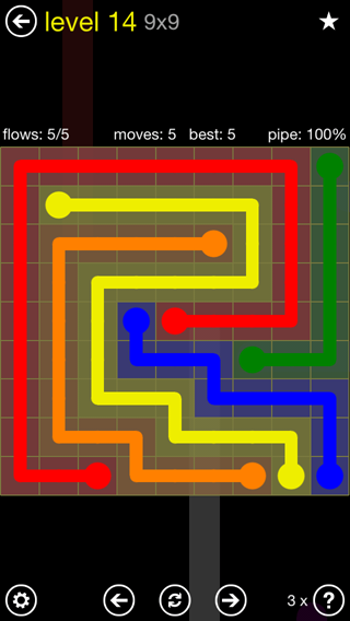 Solution and Answer to the Puzzle for Flow Extreme2 Pack Set 9x9 Level 14