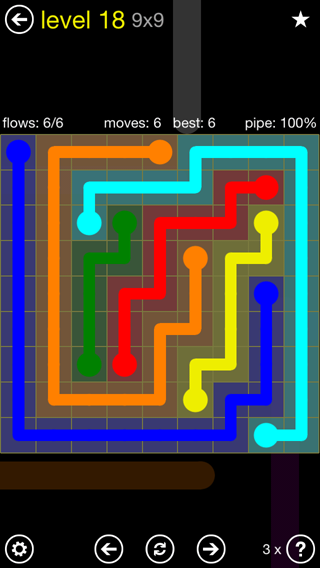 Solution and Answer to the Puzzle for Flow Extreme2 Pack Set 9x9 Level 18