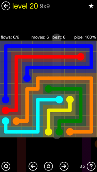 Solution and Answer to the Puzzle for Flow Extreme2 Pack Set 9x9 Level 20