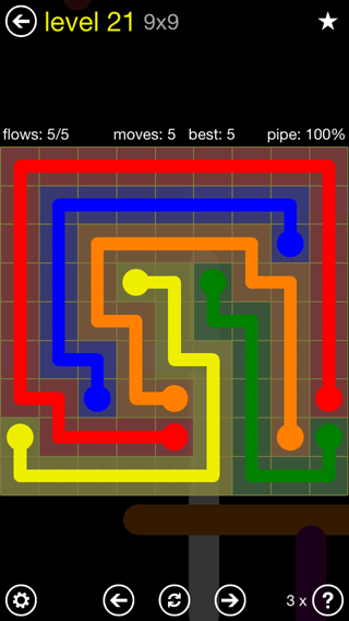 Solution and Answer to the Puzzle for Flow Extreme2 Pack Set 9x9 Level 21