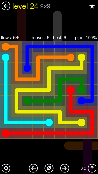 Solution and Answer to the Puzzle for Flow Extreme2 Pack Set 9x9 Level 24