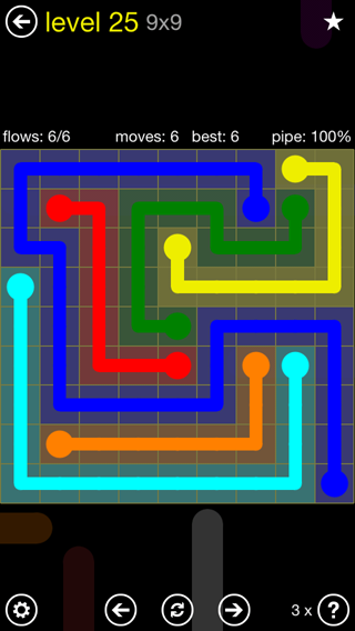 Solution and Answer to the Puzzle for Flow Extreme2 Pack Set 9x9 Level 25
