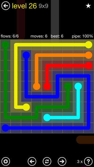 Solution and Answer to the Puzzle for Flow Extreme2 Pack Set 9x9 Level 26