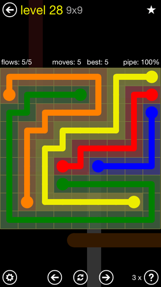 Solution and Answer to the Puzzle for Flow Extreme2 Pack Set 9x9 Level 28