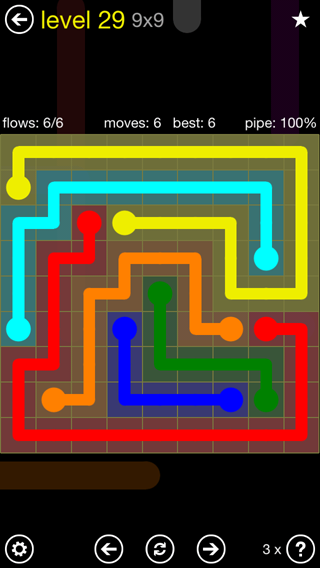Solution and Answer to the Puzzle for Flow Extreme2 Pack Set 9x9 Level 29