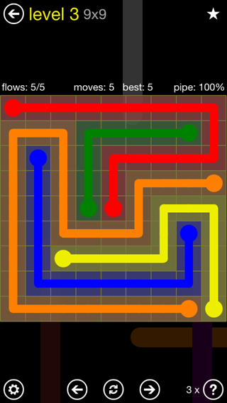 Solution and Answer to the Puzzle for Flow Extreme2 Pack Set 9x9 Level 3
