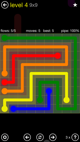 Solution and Answer to the Puzzle for Flow Extreme2 Pack Set 9x9 Level 4