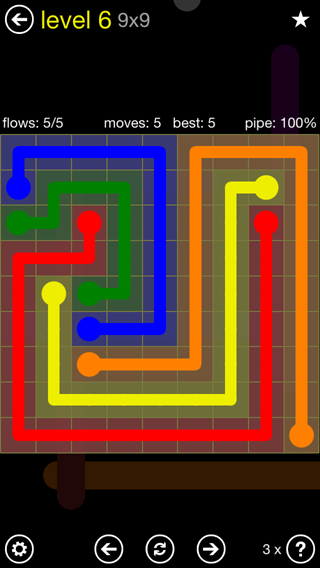Solution and Answer to the Puzzle for Flow Extreme2 Pack Set 9x9 Level 6