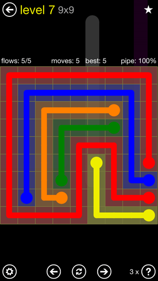 Solution and Answer to the Puzzle for Flow Extreme2 Pack Set 9x9 Level 7