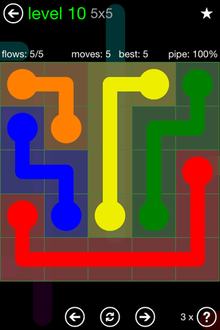 Solution and Answer to the Puzzle for Flow Green Pack Set 5x5 Level 10