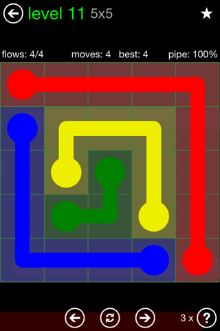Solution and Answer to the Puzzle for Flow Green Pack Set 5x5 Level 11