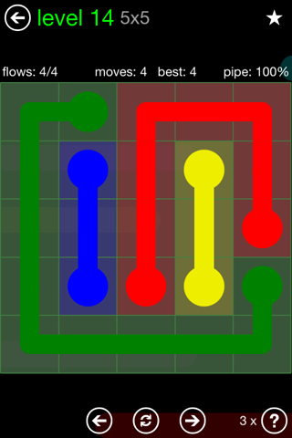 Solution and Answer to the Puzzle for Flow Green Pack Set 5x5 Level 14