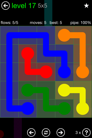 Solution and Answer to the Puzzle for Flow Green Pack Set 5x5 Level 17