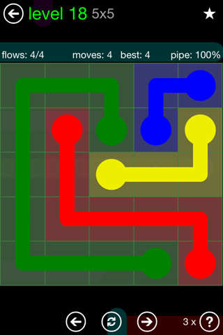Solution and Answer to the Puzzle for Flow Green Pack Set 5x5 Level 18