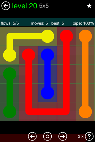 Solution and Answer to the Puzzle for Flow Green Pack Set 5x5 Level 20