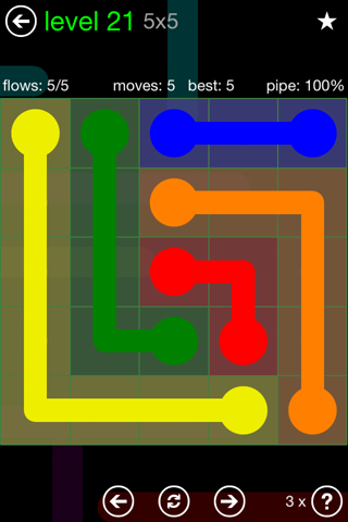 Solution and Answer to the Puzzle for Flow Green Pack Set 5x5 Level 21