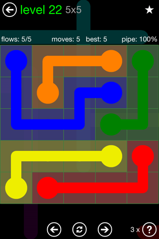 Solution and Answer to the Puzzle for Flow Green Pack Set 5x5 Level 22