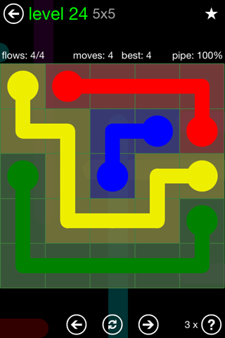 Solution and Answer to the Puzzle for Flow Green Pack Set 5x5 Level 24