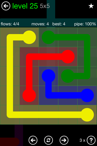 Solution and Answer to the Puzzle for Flow Green Pack Set 5x5 Level 25