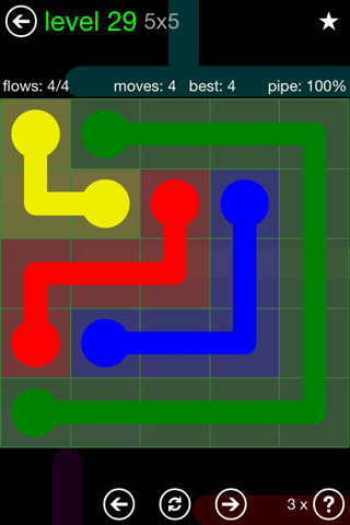 Solution and Answer to the Puzzle for Flow Green Pack Set 5x5 Level 29