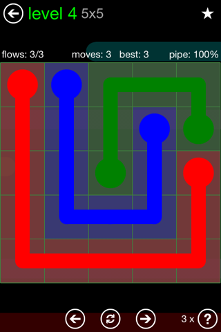 Solution and Answer to the Puzzle for Flow Green Pack Set 5x5 Level 4