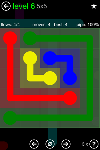 Solution and Answer to the Puzzle for Flow Green Pack Set 5x5 Level 6