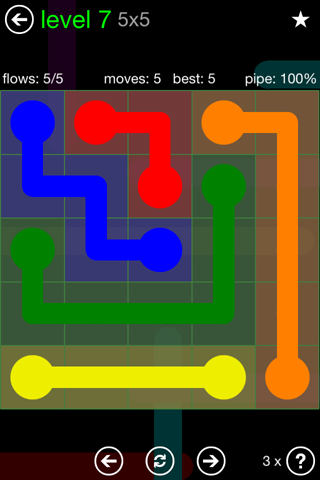 Solution and Answer to the Puzzle for Flow Green Pack Set 5x5 Level 7