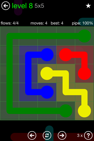 Solution and Answer to the Puzzle for Flow Green Pack Set 5x5 Level 8