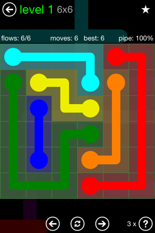 Solution and Answer to the Puzzle for Flow Green Pack Set 6x6 Level 1