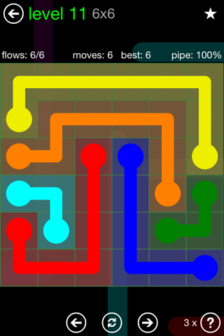 Solution and Answer to the Puzzle for Flow Green Pack Set 6x6 Level 11