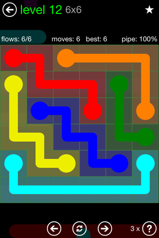 Solution and Answer to the Puzzle for Flow Green Pack Set 6x6 Level 12