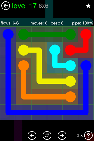 Solution and Answer to the Puzzle for Flow Green Pack Set 6x6 Level 17