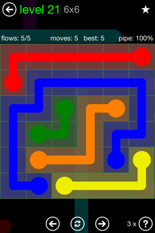 Solution and Answer to the Puzzle for Flow Green Pack Set 6x6 Level 21