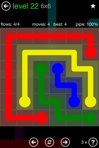 Solution and Answer to the Puzzle for Flow Green Pack Set 6x6 Level 22