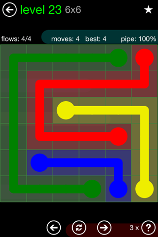 Solution and Answer to the Puzzle for Flow Green Pack Set 6x6 Level 23