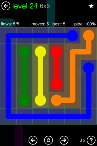 Solution and Answer to the Puzzle for Flow Green Pack Set 6x6 Level 24