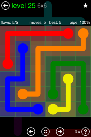 Solution and Answer to the Puzzle for Flow Green Pack Set 6x6 Level 25